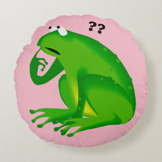 Adorable Clueless Green Frog Round Pillow