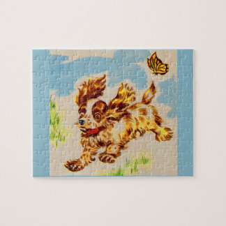 adorable cocker spaniel puppy on the run jigsaw puzzle