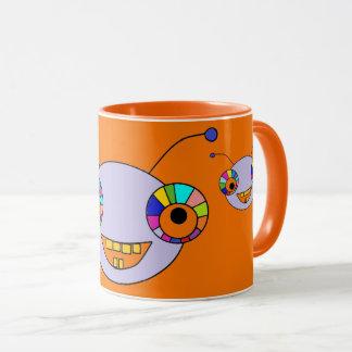 Adorable Colorful Alien Monsters Print Orange Mug