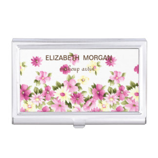 Adorable Colorful Girly Blooming Flowers Business Card Holder