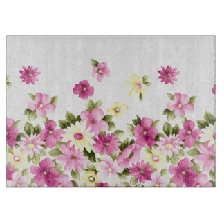 Adorable Colorful Girly Blooming Flowers Cutting Board