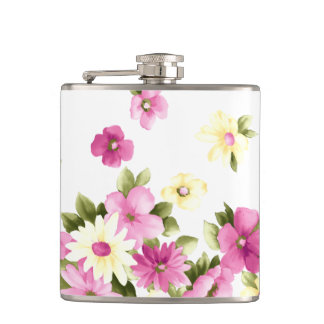 Adorable Colorful Girly Blooming Flowers Hip Flask