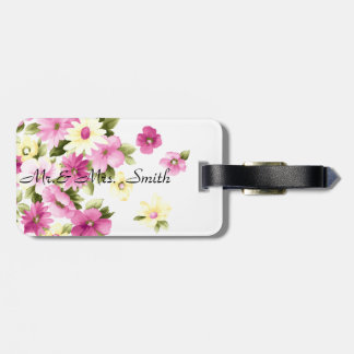 Adorable Colorful Girly Blooming Flowers Luggage Tag