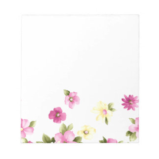 Adorable Colorful Girly Blooming Flowers Notepad