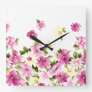 Adorable Colorful Girly Blooming Flowers Square Wall Clock