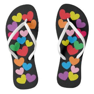 Adorable Colorful Hearts Print on Black Flip Flops