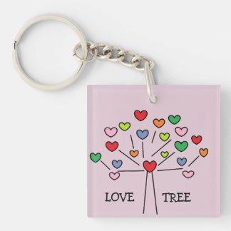 Adorable Colorful Love Hearts Tree Design Keychain
