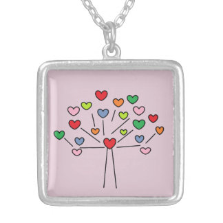 Adorable Colorful Love Hearts Tree Design Silver Plated Necklace