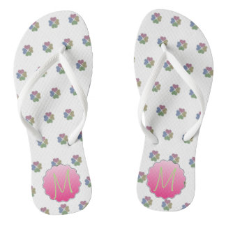 Adorable Colorful Shamrocks ,Monogram Flip Flops