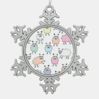 Adorable Colorful Sheep Pewter Snowflake Ornament