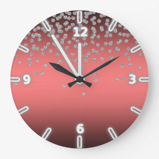 Adorable Coral Red Shiny Foil  Confetty Or Diamond Large Clock