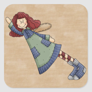Adorable Country Folk Art Rag Angel Doll Square Sticker