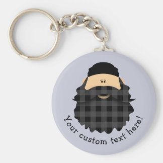 Adorable Country Plaid Black Bearded Character Basic Round Button Keychain