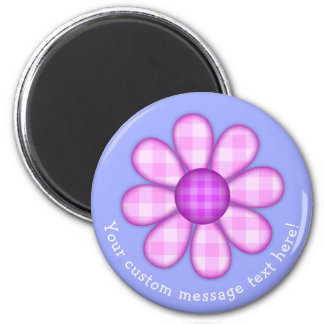 Adorable Country Plaid Graphic Flower Icon 2 Inch Round Magnet