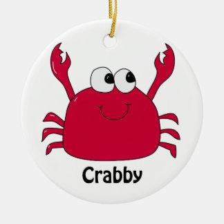 Adorable Crabby Round Ceramic Ornament