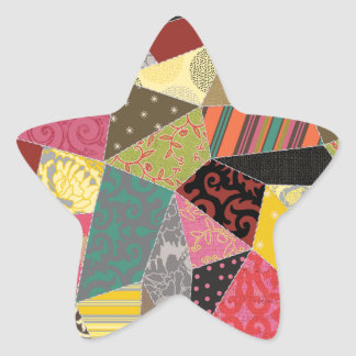 Adorable Crazy Quilt Star Sticker