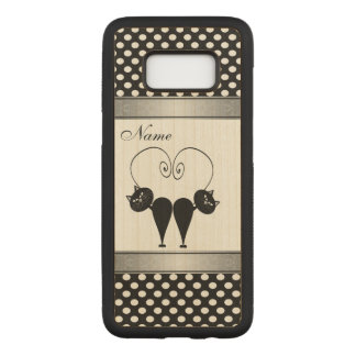 Adorable cuite cat in love polka dots personalized carved samsung galaxy s8 case
