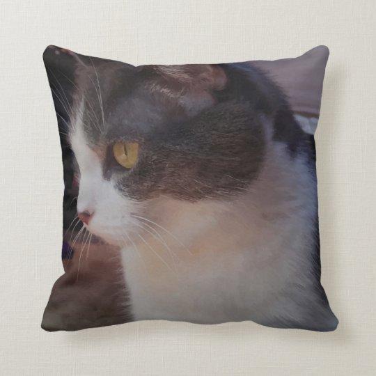 Adorable Curious Kitty Cat Print Throw Pillow