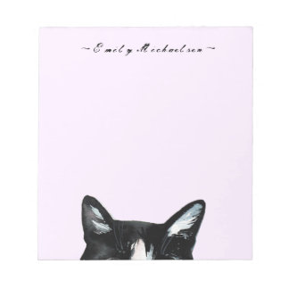 Adorable Curious Peeking Cat and Add Name Notepad