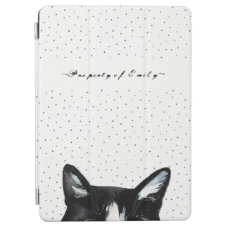 Adorable Curious Peeking Cat with Dots Black White iPad Air Cover