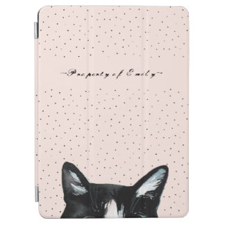 Adorable Curious Peeking Cat with Dots on Blush iPad Air Cover