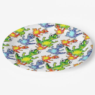 Adorable cute baby dinosaurs doodle picture design 9 inch paper plate