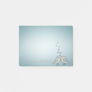 Adorable Cute Birds In Love -Personalized Post-it Notes