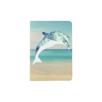 Adorable Cute Dolphin,Ocean  -Personalized Passport Holder