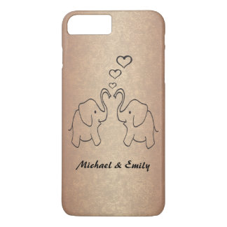 Adorable cute elephants in love rosegold iPhone 7 plus case