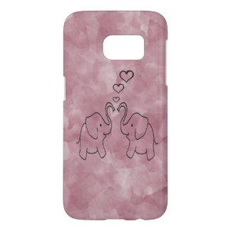 Adorable cute elephants in love samsung galaxy s7 case