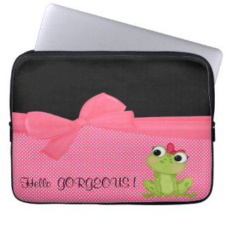 Adorable Cute Frog on Polka Dots-Hello Gorgeous Computer Sleeve