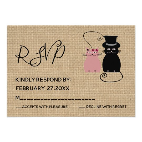 Adorable cute funny cartoon cats in love RSPV Card
