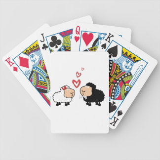 Adorable cute funny cartoon sheep in love bicycle playing cards