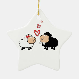 Adorable cute funny cartoon sheep in love ceramic ornament