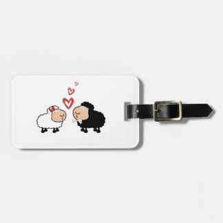 Adorable cute funny cartoon sheep in love luggage tag