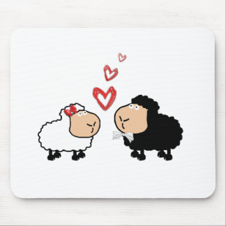 Adorable cute funny cartoon sheep in love mouse pad