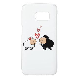 Adorable cute funny cartoon sheep in love samsung galaxy s7 case