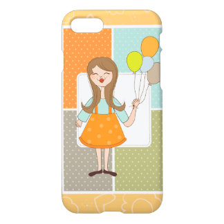 Adorable Cute Girl and Her Balloons iPhone 7 Case