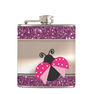 Adorable Cute Ladybug On Glittery Hip Flask