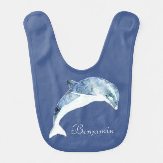 Adorable Cute Light Blue  Dolphin-Personalized Bib