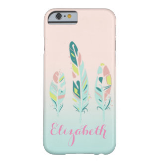 Adorable Cute  Modern Girly Feathers Barely There iPhone 6 Case