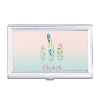 Adorable Cute  Modern Girly Feathers Business Card Holder