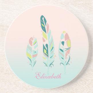 Adorable Cute  Modern Girly Feathers Coaster