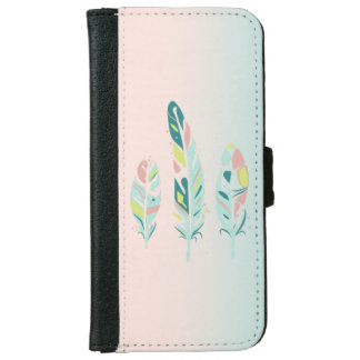 Adorable Cute  Modern Girly Feathers iPhone 6 Wallet Case