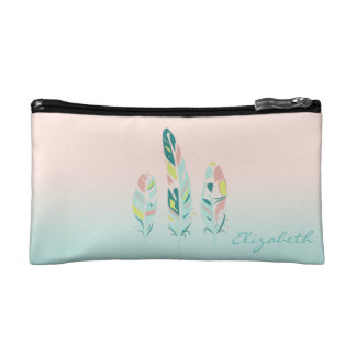 Adorable Cute  Modern Girly Feathers Makeup Bags