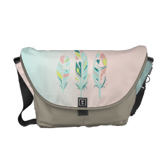 Adorable Cute  Modern Girly Feathers Messenger Bags