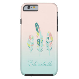Adorable Cute  Modern Girly Feathers Tough iPhone 6 Case
