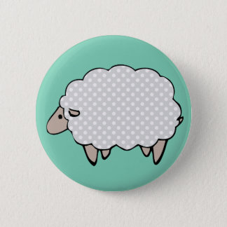 Adorable Cute Polkadot Grey Sheep 2 Inch Round Button