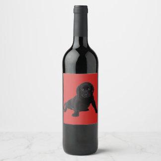 Adorable Cute Puppy Labrador Wine Label