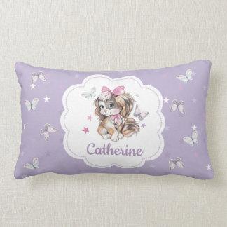 Adorable Cute Spaniel Puppy in pastel watercolor Lumbar Pillow